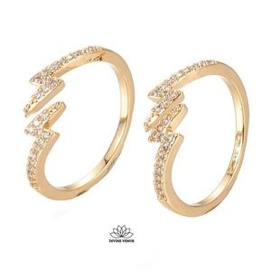 Lightning Bolt Ring ⚡️ 18K Gold Plated Brass ⚡️